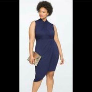 Eloquii dress navy blue asymmetric dress